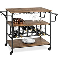 Home Bar Cabinetry Best Choice Products 45in Industrial Wood Shelf Bar & Wine Storage Service Cart Trolley w/ 14 Bottle & 18 Glass Racks… home bar cabinetry