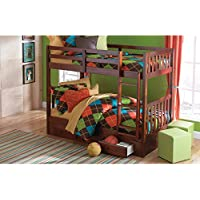 Twin Over Twin Bunk Bed in Merlot Finish