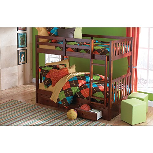 Twin Over Twin Bunk Bed In Merlot Finish Benefits
