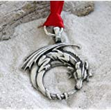 Pewter Gothic Dragon on Crescent Moon Christmas Ornament and Holiday Decoration