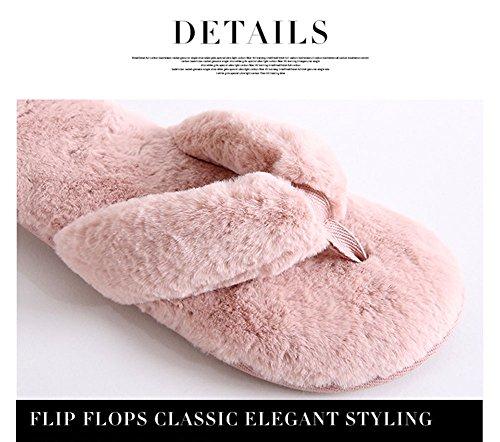 Felice Donne Giglio Infradito Calzature In Pile Casa Slip On Pantofole Antiscivolo Sandalo Open Toe Scarpe Interne O Esterne Rosa