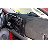 GMC Sierra and Chevrolet Silverado Black Carpet Dashboard Cover- Fits 2008-2013 Models with Two Glove Boxes. Custom Fit, Won't Break Dash Sensors