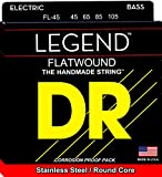 Flatwound Legend Bass Strings Medium. DR Strings flat wound Hi-Beam stainless steel bass strings are constructed upon a round core unique in the industry. Hi-Beams require much more time, care, and extra steps to make than other bass strings. The ext...
