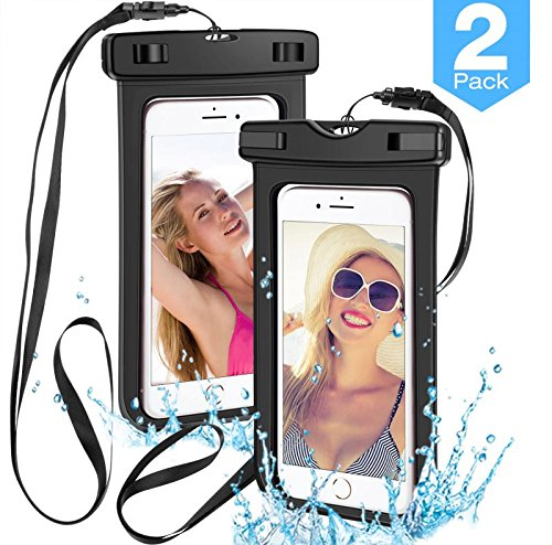 [2 Pack] Universal Waterproof Phone Pouch,powerman Waterproof Phone Case Underwater New Type TPU Dry Bag for iPhone X/8/8plus/7/7plus/6s/6/6s Plus Samsung Galaxy s9/s8 Google Pixel up to 6.0