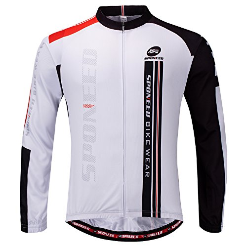 Sponeed Men's Long Sleeve Bicycling Jersey Bike Shirt Breathable US XL White