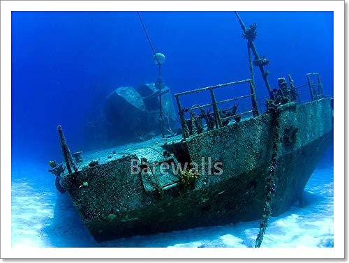 Underwater Shipwreck Inケイマンブラック用紙印刷壁アート 12in. x 16in. 12in. x 16in.  B074XKG7NX