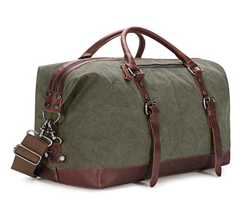 - BAOSHA Oversized Canvas PU Leather Travel Tote Duffel Bag Weekender Overnight Bag (Army Green)