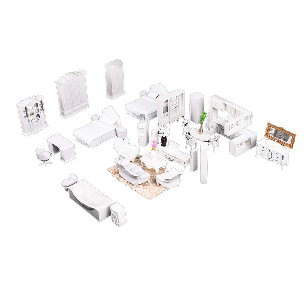 Happy nest 24 Set White ABS Doll House Furniture Dollhouse Doll Decoration Accessories