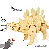 Robotime 3D Robotic Dinosaur Toys for Boys 6, 7, 8 9 Year Old and Up - Sound Controlled 3D Wooden Jigsaw Puzzle - Woodcraft Construction Kit - Birthday Christmas Gifts for Kids and Adults (Stegosaurus)
