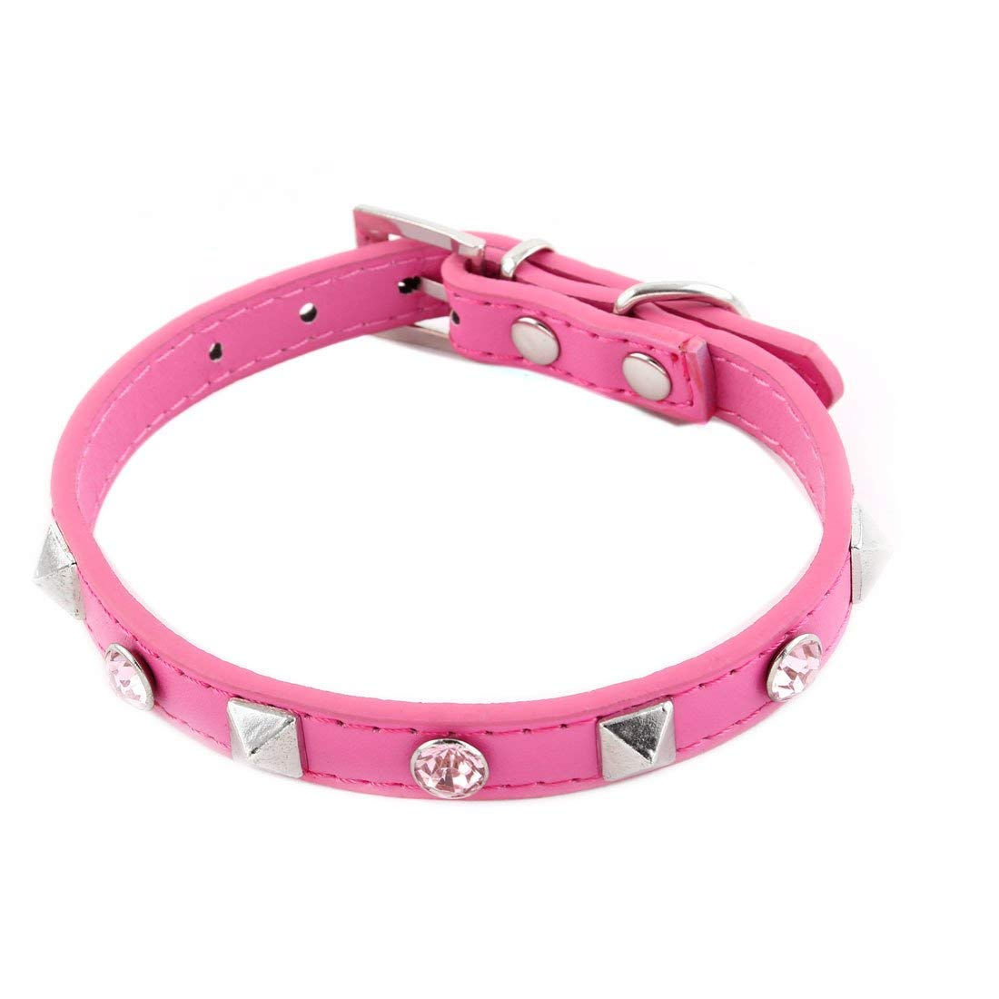 Faux Leather Faux Rhinestone Decor Buckle Adjustable Pet Dog Neck Collar Fuchsia