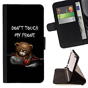For Samsung Galaxy Note 3 III Funny Don't Touch My Phone Bear Style PU Leather Case Wallet Flip Stand Flap Closure Cover