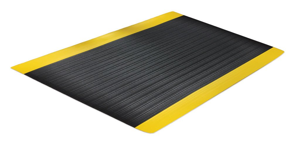 Comfort Step 3/8'' Anti-Fatigue Mat with Ribbed Emboss, Black with Yellow Border, 3' x 12' by Portico Systems