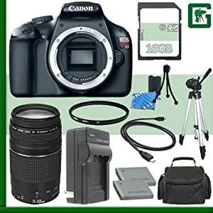 Canon EOS Rebel T3 Digital SLR Camera and Canon EF 75-300mm III Lens + 16GB Green's Camera Package 1