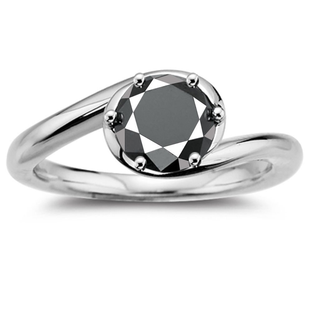 RINGJEWEL 2.65 ct Opaque Round Cut Moissanite Solitaire Engagement & Wedding Ring Black Color Size 7.5 by RINGJEWEL