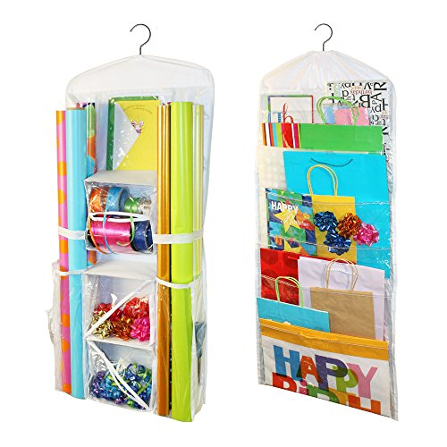 (Jokari Gift Wrap and Bag Organizer -2 Piece Storage for Wrapping Paper (All Sized Rolls), Gift Bags - Organize Your Closet with This Hanging Bag & Box to Have Organization,)