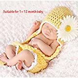 Sealive Newborn Infant Girls Sunflower Knit Crochet Clothes Beanie Hat Outfit Photo Props,Cute Cartoon Sunflower Fad Suitable for 0-12 Months Baby Toddler