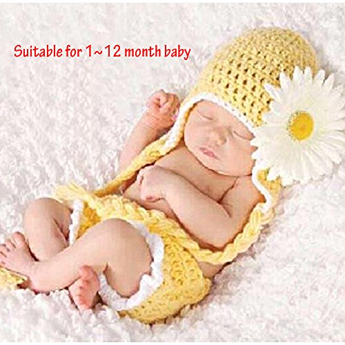 [Sealive Newborn Baby Girls Sunflower Knit Crochet Clothes Beanie Hat Outfit Photo Props,Cute Cartoon Sunflower Style Suitable for 0-12 Months Baby] (Doctor And Patient Couple Costume)