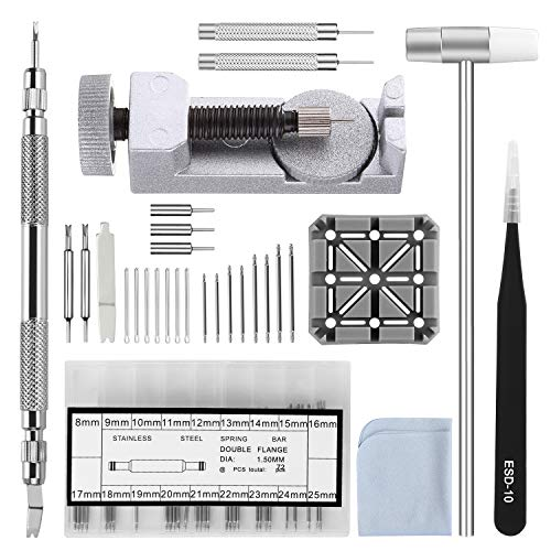 Watch Band Strap Repair Tool Kit,104 in 1 Link Remover,Spring Bar Tool with Extra 72PCS pins,20PCS Cotter Pin,1PCS Holder,1PCS Head Hammer,1PCS Tweezers,1PCS Glasses Cloth
