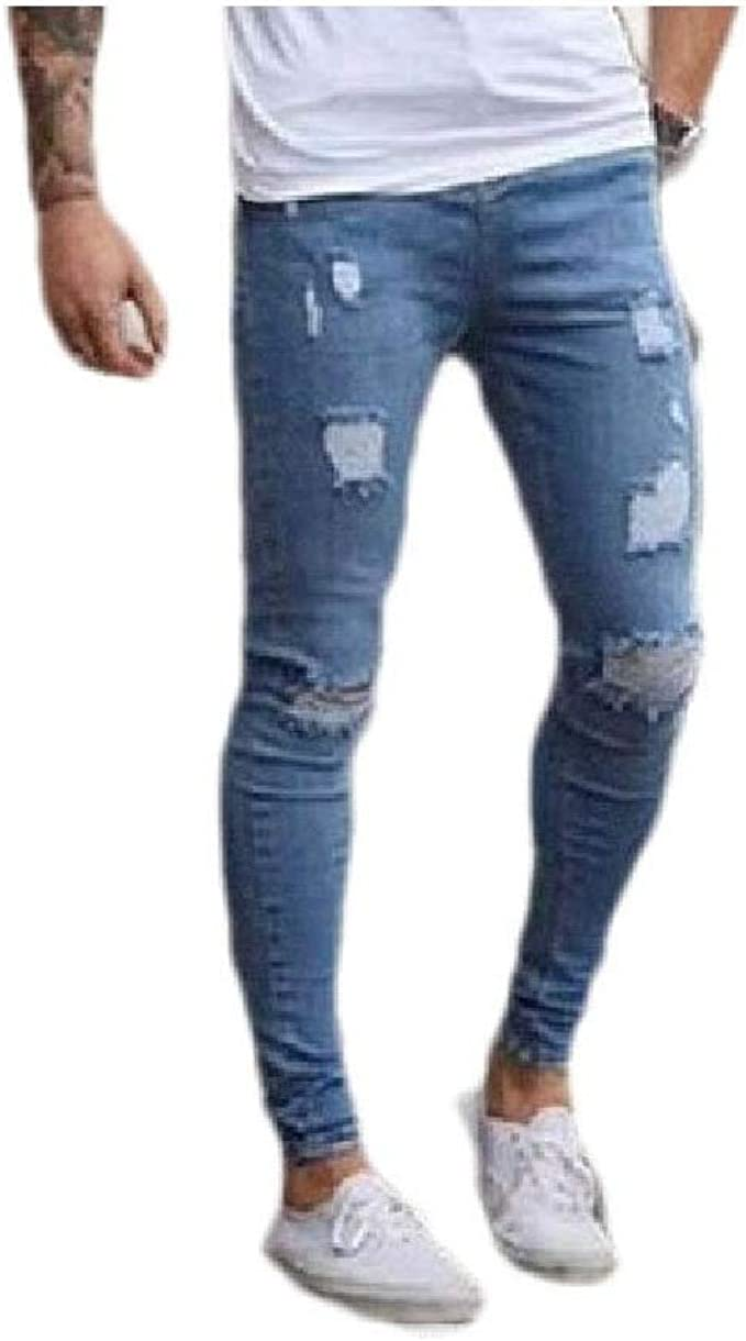 Nicellyer Men's Mid-Rise Pure Color Bodycon Pocket Casual Destroyed Denim Pants