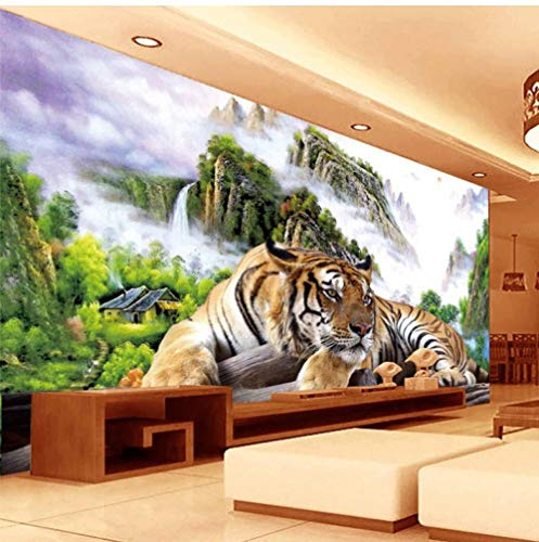 Fifikoj Photo Wallpaper 3D Tiger Nature Landscape Mural Chinese Style Classic Living Room TV Sofa Backdrop Wall Paper for Wall 3 D Decor-200x100cm