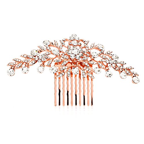 Mariell Glistening Rose Gold and Clear Crystal Petals Bridal, Wedding or Prom Hair Comb Accessory - Gold Clear Crystal