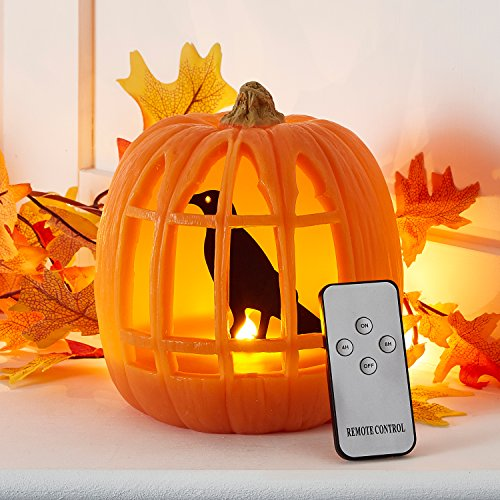 Battery Operated LED Halloween Pumpkin Light with Crow & Remote Control