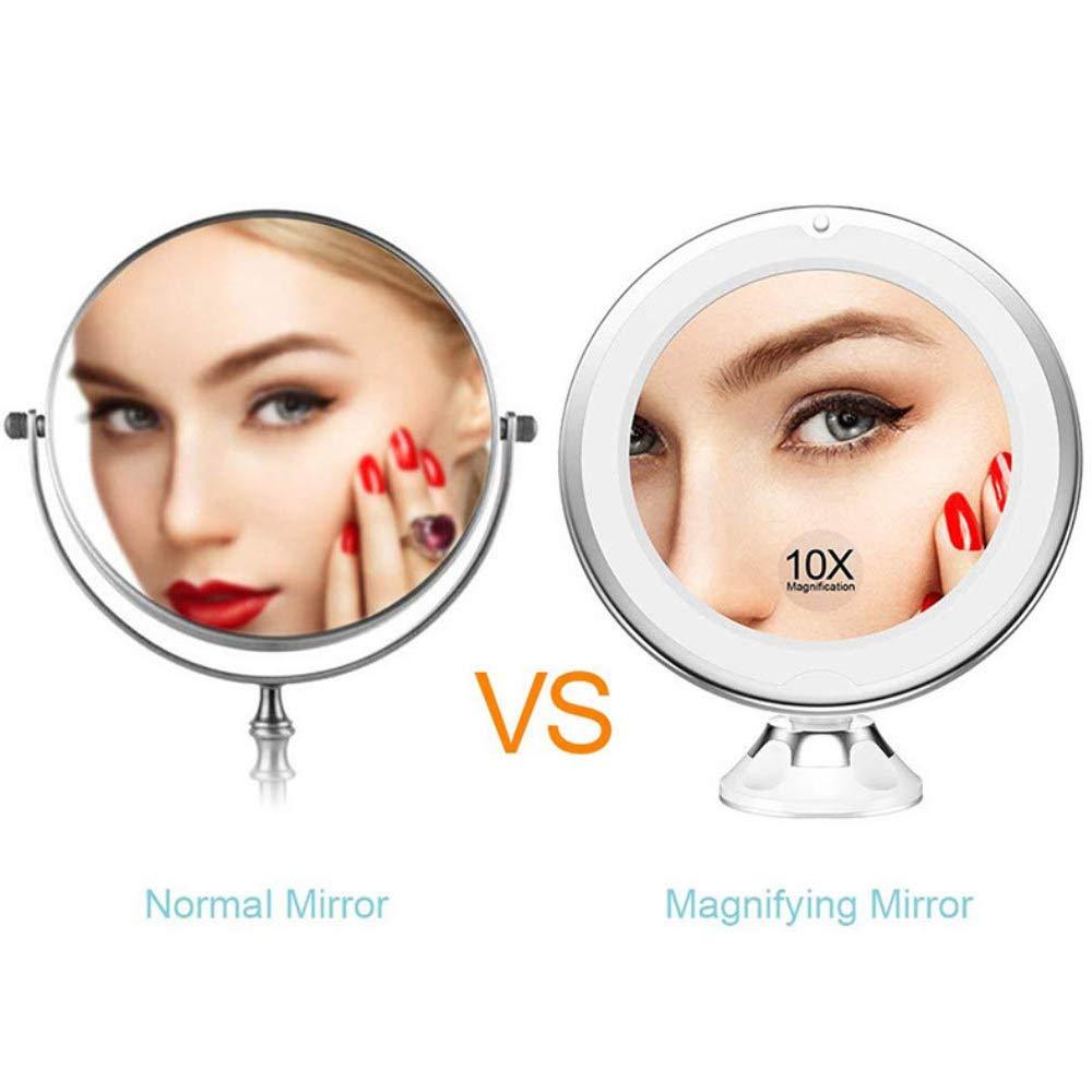 Ealicere 10x Grossissant Miroir Maquillage avec Lumi/ères LED et Verrouillage Ventouse,Ajustable Rotation /à 360/°,Our Rasage et Maquillage