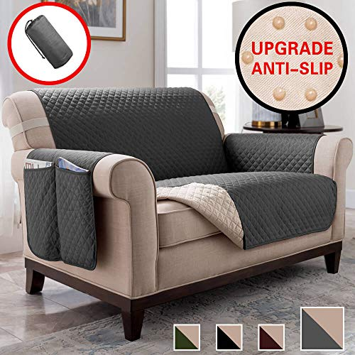 Vailge Anti-Slip Chair Covers, Water Resistant Chair Protector with Back Non-Slip Dots,Machine Washable Sofa Cover for Dogs, Children, Pets(Chair:Dark -