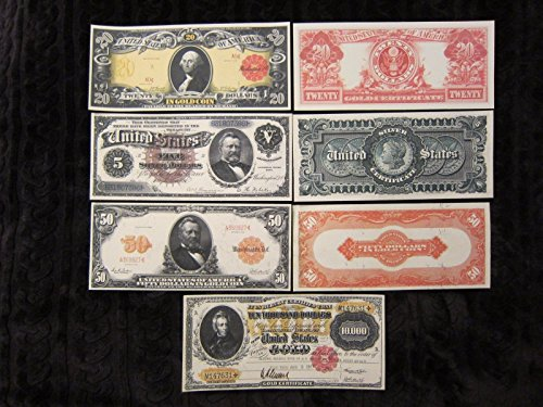 Gold and Silver Certificate X Large Copy Reprints 1886 $5 1905 $20 (5 Legal Tender Note)