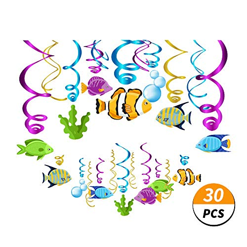 Under The Sea Birthday Supplies (Kristin Paradise 30Ct Tropical Fish Hanging Swirl Decorations, Under The Sea Party Supplies, Ocean Birthday Theme, Fishing Kids Decor for First 1st Boys Girls Baby Shower, Fishing Fisherman)