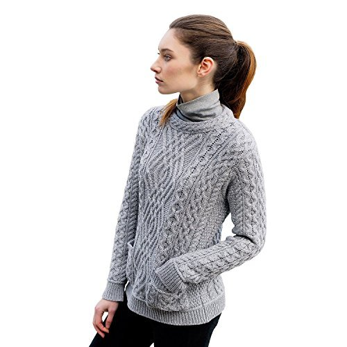Ladies 100% Irish Merino Wool Cable Crew Sweater with Pockets by West End Knitwear, Large, Grey (End Pocket)