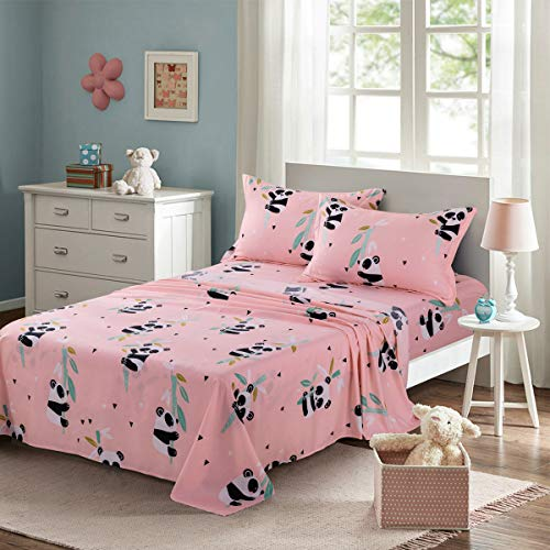 KFZ Bedding Sets Queen -Pink, Baby Panda Printed Sheets, 4 Pieces Bedding with 1 Fitted Sheet, 1 Flat Sheet, 2 Pillowcases - Soft Egyptian Quality Brushed Microfiber Bed Set for Boys and Girls]()