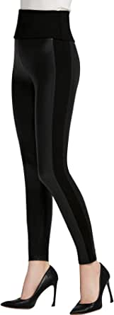 Everbellus Cintura Alta Leggins Cuero para Mujeres Sexy Negro Skinny Pantalon