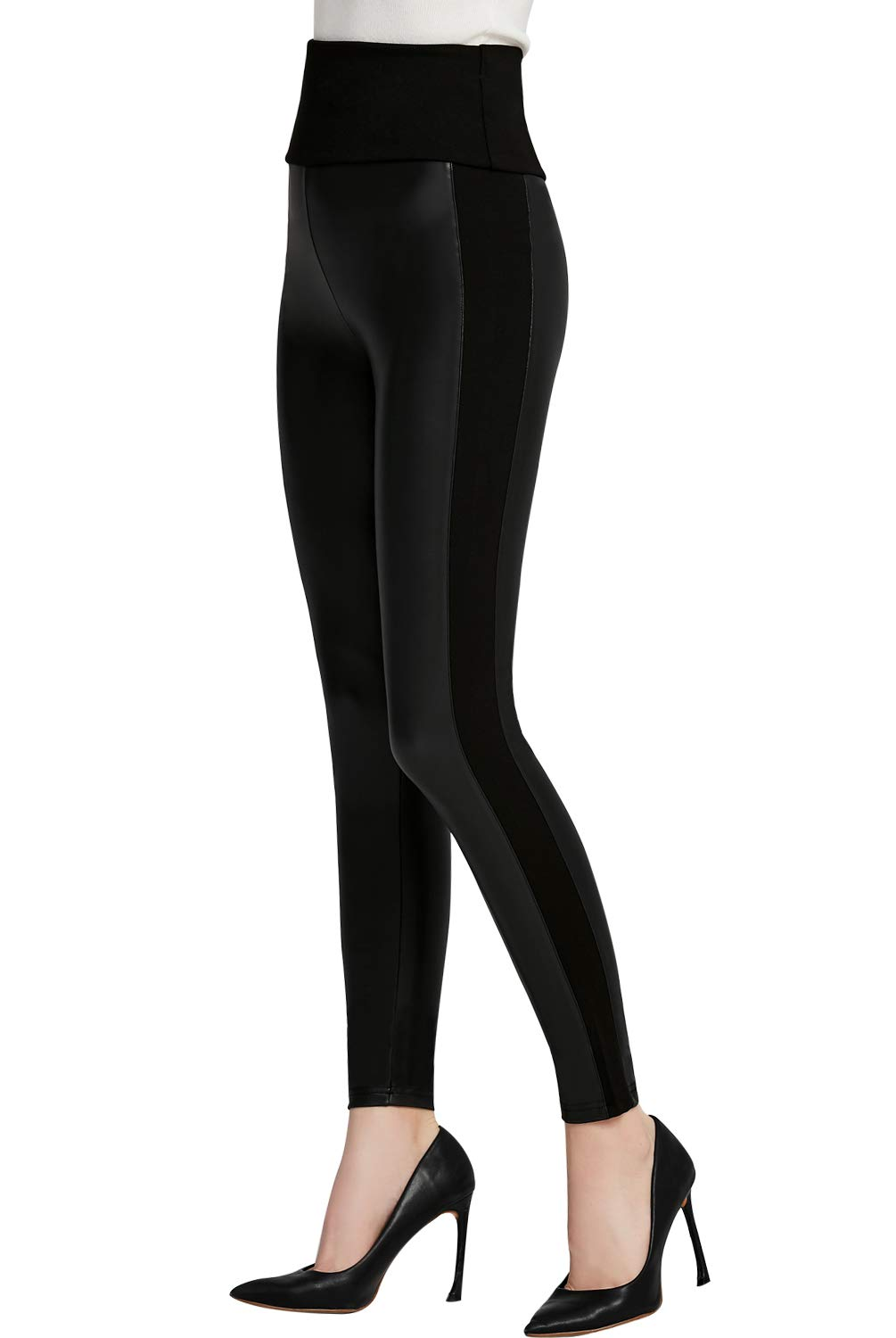 Everbellus Womens Black Faux Leather Leggings Girls High Waisted Sexy Leather Pants Medium
