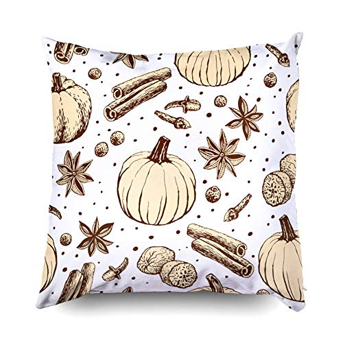 TOMWISH Hidden Zippered Pillowcase Halloween Handwritten Pumpkin Spice Pattern Coffee 16X16Inch,Decorative Throw Custom Cotton Pillow Case Cushion Cover for Home Sofas,bedrooms,Offices,and More