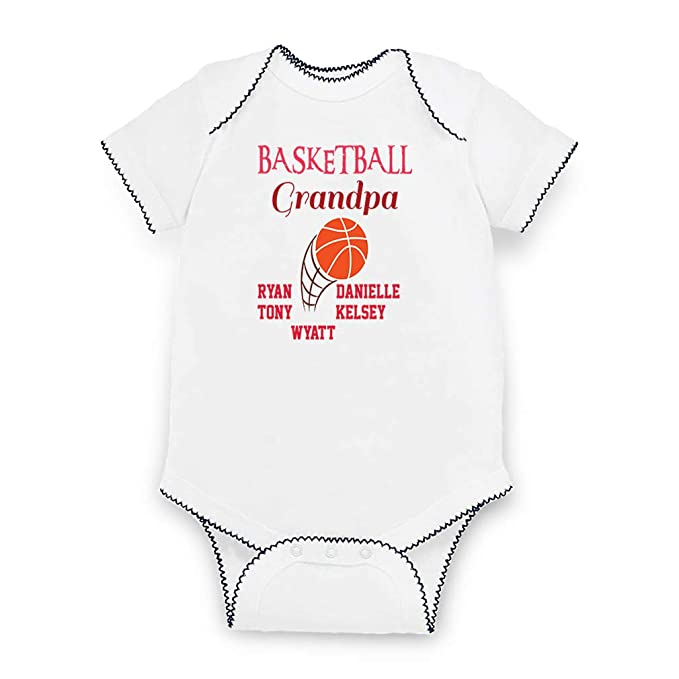 f106be792bd Personalized Custom Grandpa Basketball Ball Grandkids Cotton Short Sleeve  Envelope Neck Boys-Girls Bodysuit Fine