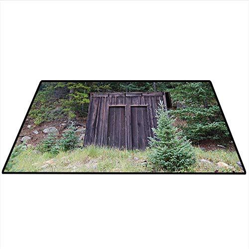 (Outhouse Area Silky Smooth Rugs Farm Life House Wooden Door of Cottage Hut in Woodland Leaves Art Print Mats Non Slip 3'x5' (W90cmxL150cm) Dark Brown and Green)