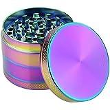 DCOU Rainbow Herb Grinders 2.2 Inches 4 Parts Zinc Alloy Pollen Grinder Tobacco Grinder Colorful Metal Grinder