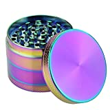 DCOU Rainbow Herb Grinders 2.2 Inches 4 Parts Zinc Alloy Pollen Weed Grinder Tobacco Grinder Colorful Metal Grinder