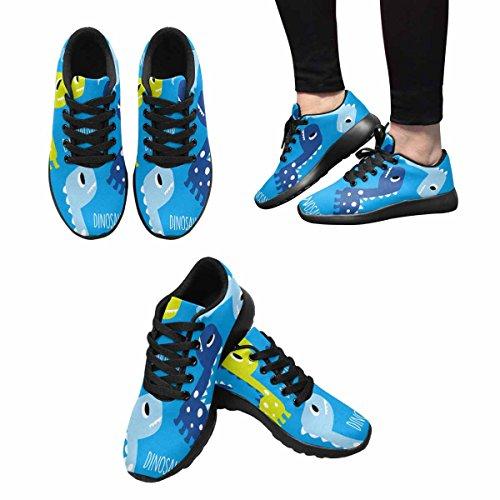 Interestprint Mujeres Casual Deportes Suaves Road Running Walking Zapatos Dinosaur Pattern Multi 1