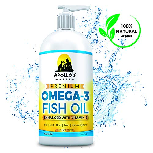 - Apollo's Pets Premium Omega 3 Fish Oil with Natural Vitamin E Treats Shedding, Itchy Skin, Pain, Allergies, Joints for Dogs and Cats. More EPA/DHA than Salmon Oil. Made in USA. 16oz Liquid Pump