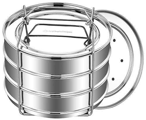 EasyShopForEveryone Stackable Stainless Steel Steamer Insert Pans, Pressure Cooker or Instant Pot in Pot Accessories for 6, 8 Qt -...