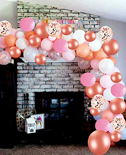 Vivuzono Balloon Arch Garland Kit | Pink Rose Gold White Balloons in Assorted Sizes | Decorations for Parties Wedding Baby Shower Graduation | Includes Glue Dots Strip Hashe