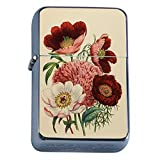 Perfection In Style Silver Flip Top Oil Lighter Vintage Flowers Design 008