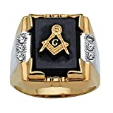 Palm Beach Jewelry Men's Genuine Black Onyx and Crystal Two-Tone Masonic Ring 14k Gold-Plated
