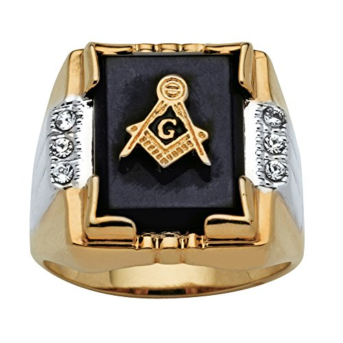 - Palm Beach Jewelry Men's Genuine Black Onyx and Crystal Two-Tone Masonic Ring 14k Gold-Plated Size 11