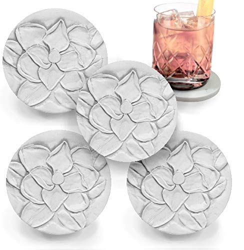 Drink Coasters by McCarter Coasters, Magnolia, Absorbent, Light Beige 4.25 inch (4pc)
