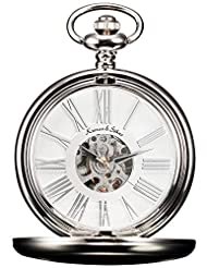 KS Men's KSP036 Steampunk Mechanical Smooth Silver Case Roman Numerals Pocket Watch White Dial