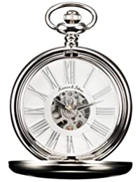 KS Men's KSP036 Steampunk Mechanical Smooth Silver Case Roman Numerals Pocket Watch White Dial