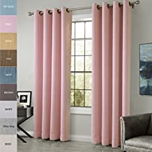 COFTY Cotton Rayon Chenille Blackout Insulated Thermal Curtain Panel Drapes - Anti - Bronze Grommet - Pink - 84Wx102L Inch (1 Panel)